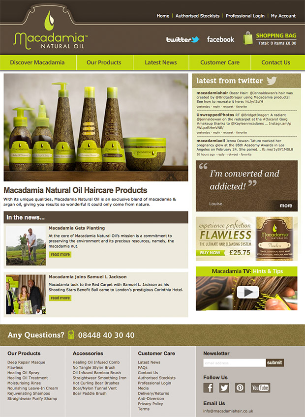 Macadamia Haircare Products Website